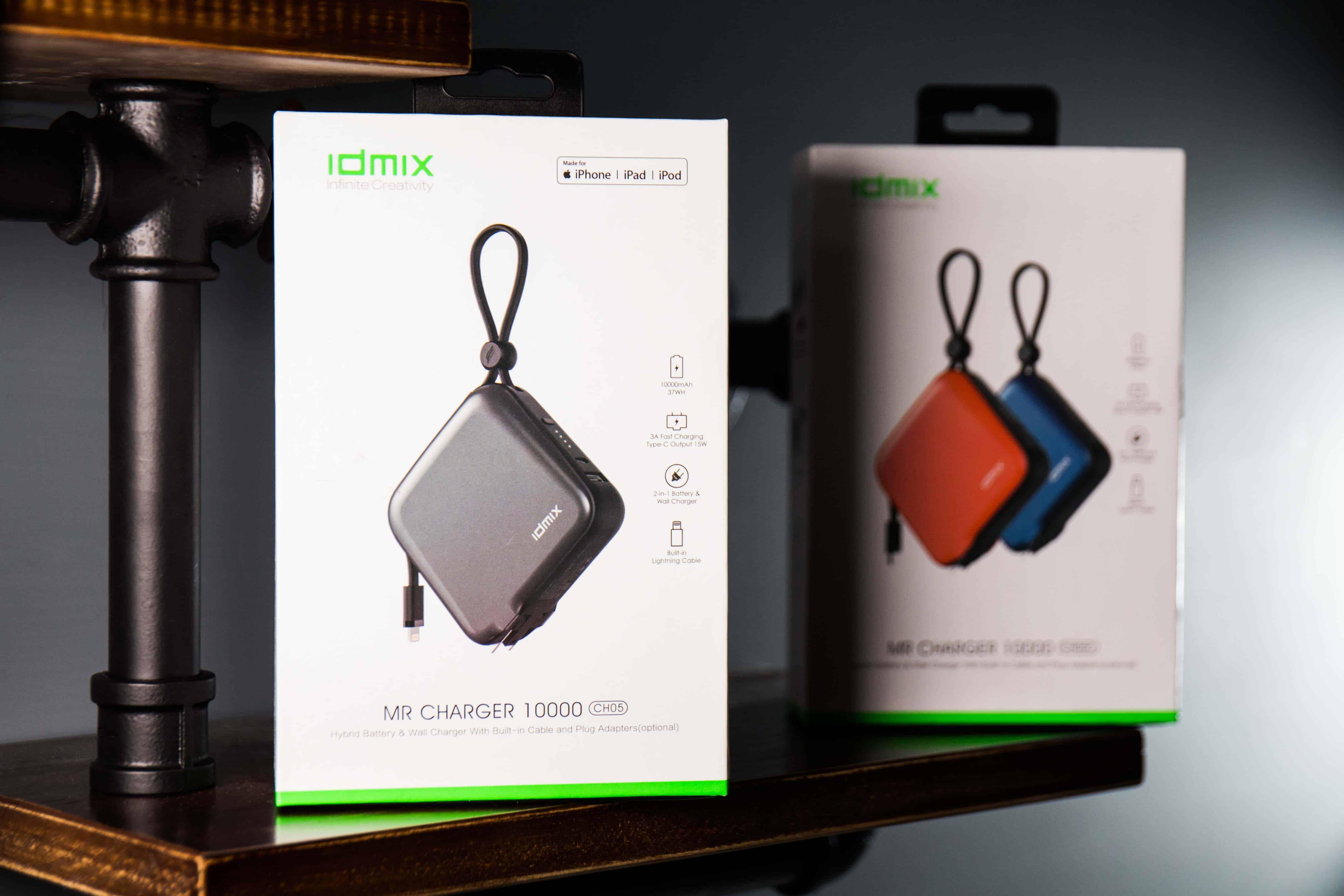 熱門iPhone行動電源推薦!IDMIX MR CHARGER 10000(CH05) Type-C及Lightning充電線雙版本
